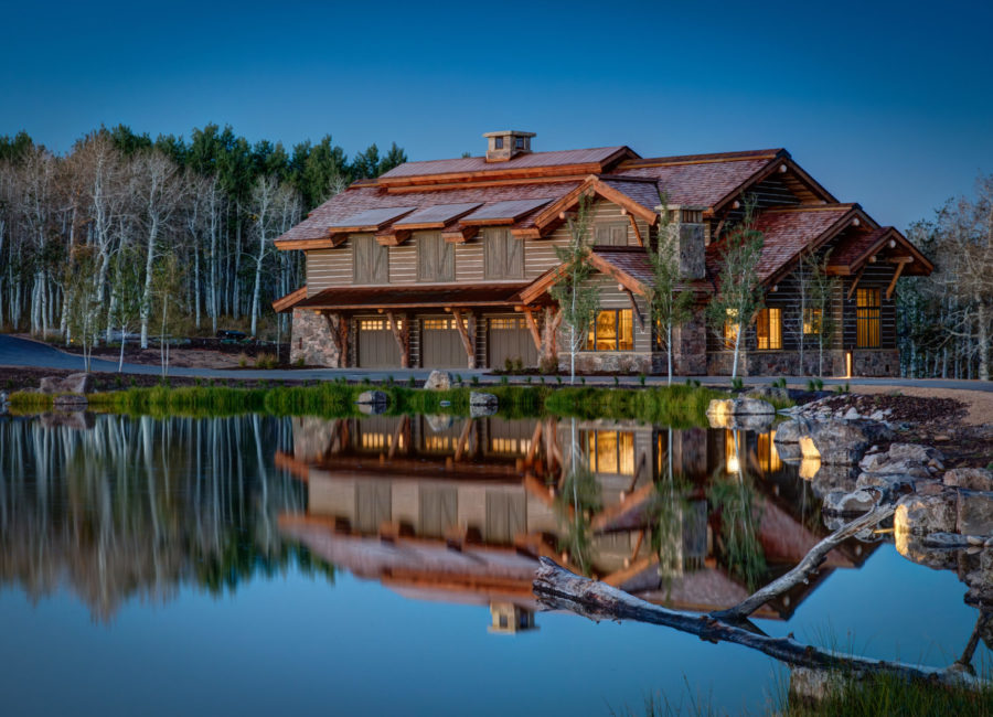 rustic custom home with beautiful landscape design